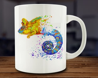 Chameleon Mug, Watercolor Chameleon Coffee Mug, Kitchen Art (A157)