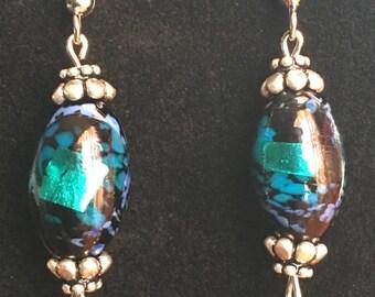 Czech Teal and Black Dangle Earrings