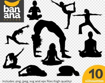 SALE Yoga 3 Silhouettes png jpg svg eps files high resolution BV-SP-0052