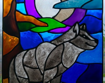 Faux Stained Glass Wolf Moonlight Suncatcher
