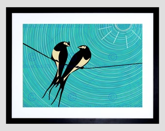 Love Birds Print - Painting Two Swallows Illustration Sun Art Print Poster Picture FEBMP1442B