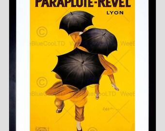 Advert Umbrella Wind Rain Weather Revel Lyon France Art Print Poster FEBB8047B