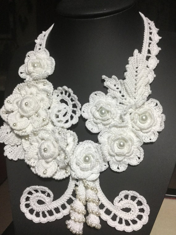 Free Crochet Wedding Jewelry Patterns : Bridal Crochet Necklace Annabella Bridal Jewelry