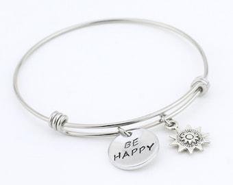 Bangle Bracelet, Adjustable bracelet, bracelet, bangle, Happy, hand stamped