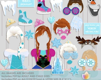 SALE!! Ice Queen, Frozen Hearts Photo Booth Props