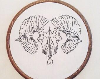"Ram's Skull Embroidery Hoop, 6"" Hoop, Embroidery Art, Embroidery Hoop, Wall Decor"