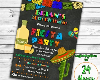 Fiesta Birthday Invitation, 30th Birthday Fiesta Invitation, 21st Birthday Fiesta Invitation, 50th Birthday Fiesta Invitation, Mexican Party