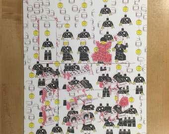 "Lego Deconstruction Instructions #4 (How to build a policeman) / 10.75"" x 15.25"" - original risograph -"