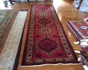 Persian rug runner hand knotted wool 3.8 x 11.6 semi antique washed clean