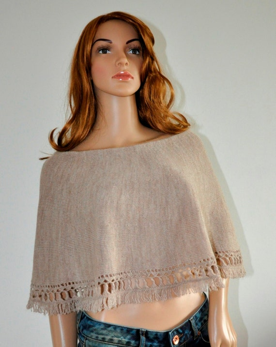 Light cape brown wool knit poncho Knit beige cover up Hand knitted poncho  short poncho 100% hand made, Women Poncho
