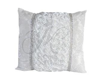 White Damask Smocked Throw Pillow Cover