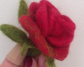 felted brooch / rose/ flower brooche /felted rose/ red rose flower