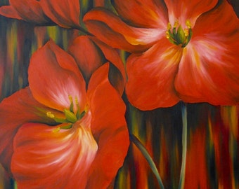 Red Poppy Flower Oil Painting Print