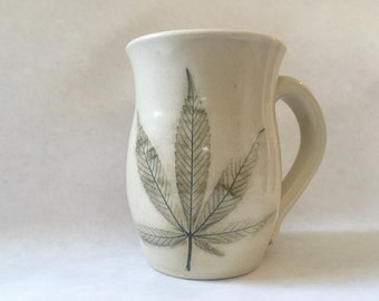 Cream Cannabis Imprinted Stoneware Mug