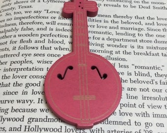 Carved and Painted Wood Banjo Pendants in Bright Pink - 2 Pieces - #731