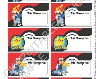 Pokemon labels for School supplies Labels printable - Set of 10- printable labels - FUN school sticker- Pokemon