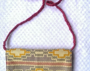 African wax cotton shoulder/cross body purse/bag sunshine yellow, red & black. Plaited shoulder strap. Fully lined.