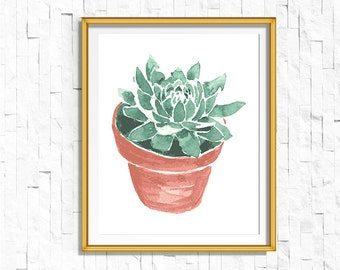 Instant Download Printable Potted Succulent Cactus Print   Shabby Chic Vintage Print   Boho Garden Watercolor Home Decor Nursery Rustic