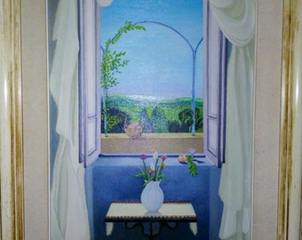 oil painting, on canvas, countryside, Tuscany, landscape with window, white frame.