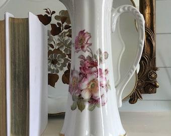Gerold Porzellan Bavarian Pink Rose Pitcher or Vase