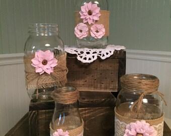 Burlap Mason Jars with Paper Flowers