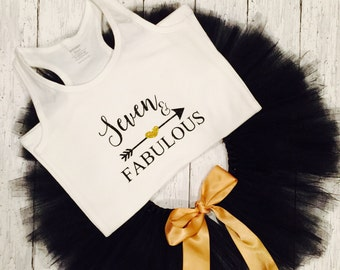 Seven & Fabulous     seven Birthday shirt  / birthday outfit  / seventh birthday / seventh teeshirt   seventh tank top
