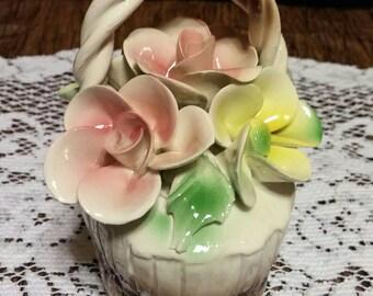 Vintage Capodimonte flower basket
