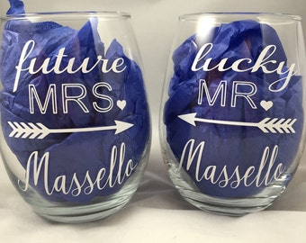 Future Mrs and Mr Lucky Stemless Wine Glasses