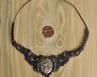 Handmade leopard jasper macrame necklace
