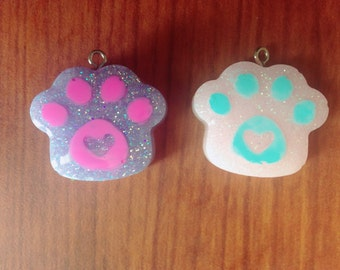 Cat Paw Resin Necklace Charm Ring