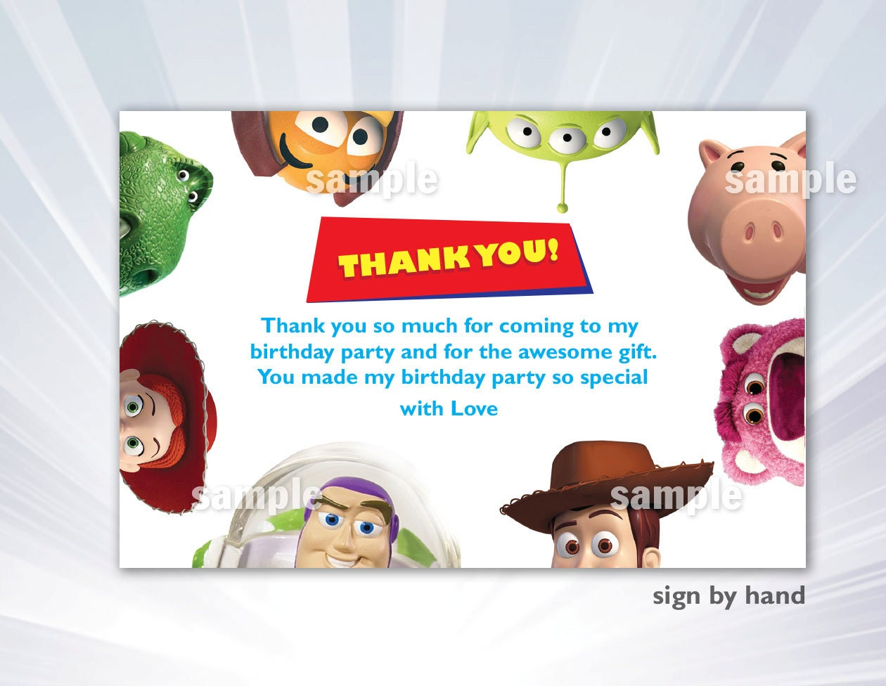 Toy Story Thank you card Toy Story Birthday Party Toy – Buzz Lightyear Birthday Card