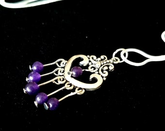 "Amethyst Pendant, Amethyst Necklace, Amethyst and Silver,Antique Amethyst Pendant with Fancy 22"" long Sterling Silver Chain."