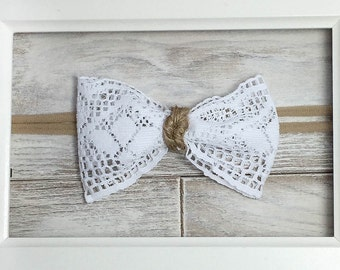 Right Lace, Right Twine. Lace bow with twine center on nylon headband or hair clip