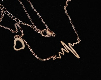Heartbeat and a Heart Rose Gold Necklace Simple Jewelry