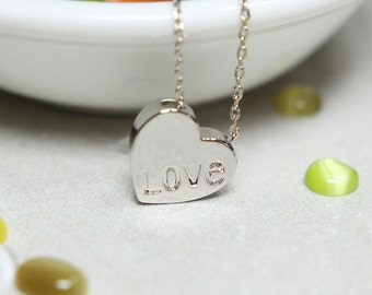 Love Heart Shape Necklace in Silver