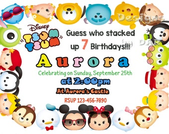 TSUM TSUM INVITATION, Tsum Tsum, tsum tsum birthday, tsum party, tsum tsum