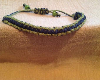 Navy Blue Square Knot Bracelet outlined with Lime Green Cord