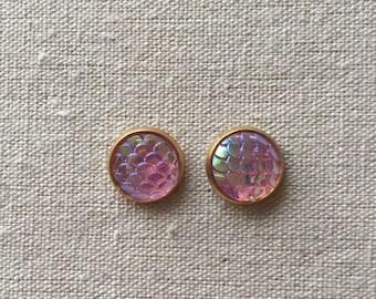 Pink Mermaid Stud Earrings