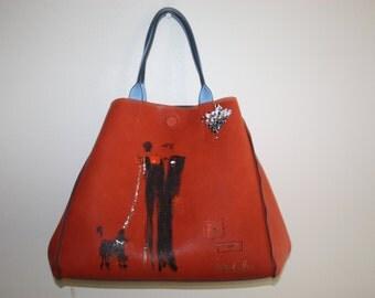 """SOLD - Franco Mondini-Ruiz """"His & Hermes""""  color block large tote handbag"""