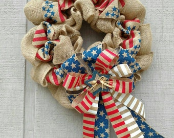 Patriotic  Red White and Blue Burlap Wreath