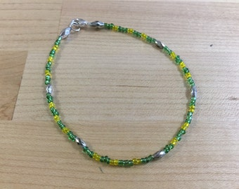 Green and Yellow Beaded Bracelet