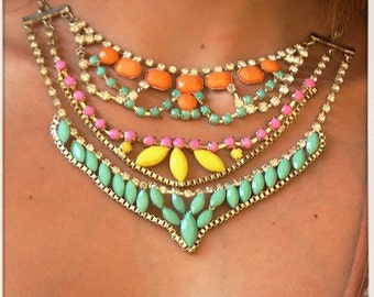 Gypsy Pastel Stones and Diamate's Collar Statement Necklace