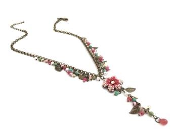 Vintage Victorian Flower Necklace, Filigree Necklace, Dangle Drop Necklace, Leaf Bird Charm Necklace-Pink Necklace #8689NG