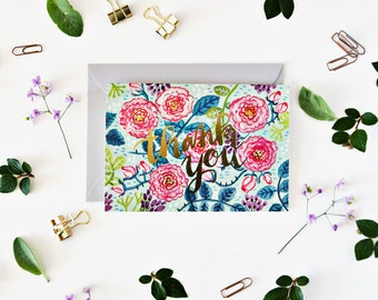 Thank You Greeting Card with gold foil