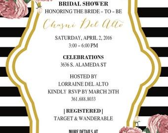 Peony & Stripes Bridal Shower Invitation  Bridal Shower Invites  Wedding Shower Invitation