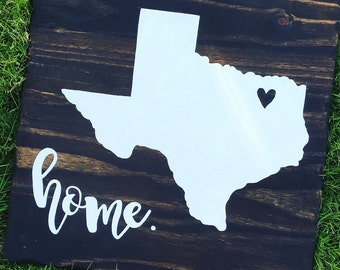 Wooden sign- Choose your state + home, rustic decor, hand-painted