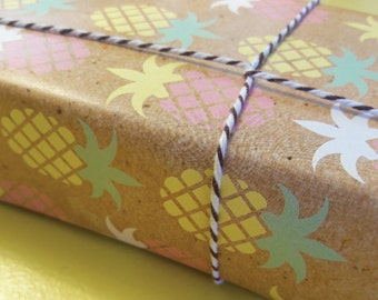 pineapple gift wrap pack,rocks wrapping paper pack, High Quality Paper pack, hand made illustration, Gift Wrap,Gift Wrapping Paper.