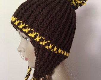 crochet hat with ear flaps, soft hat with ear flap in brown and gold