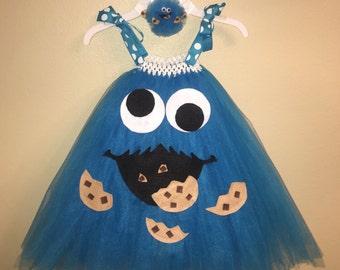 Cookie Monster Inspired Tutu Dress Plus Matching Headband.