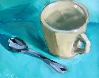 Coffee or Tea, Small Original Oil Painting on Gessobord, 6 x 6 Inches, by Merrill Weber, Small Painting, 6x6, Still Life Painting